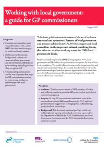 Working with local government: a guide for GP commissioners