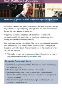 Dementia: A guide for care home managers and providers cover