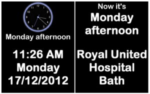 Orientation clocks Royal United Hospital Bath