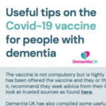 Useful tips on the COVID 19 vaccine for people with dementia
